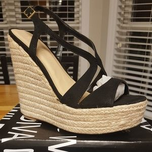 New, Never Worn Black Wedge Sandals